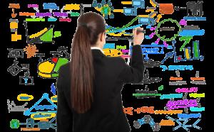 CBE - Ragazza che scrive su lavagna obiettivi marketing